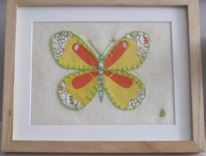 Handmade applique birthday butterfly for Elma