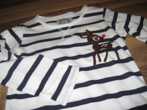 Reindeer appliqued T shirt