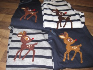 Handmade christmas reindeer t shirts for wee girls